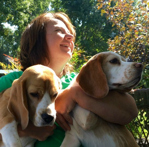 Deborah with her two dogs